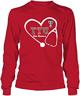 FanPrint Texas Tech Red Raiders T-Shirt - Stethoscope - Patterned Letters