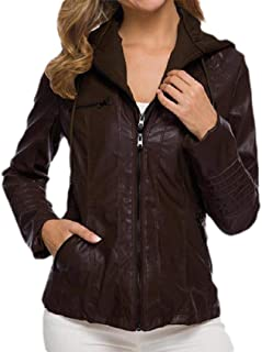 Howely Women's Fitted Hood Zipper Plus-Size Stylish Leather Trench Coat