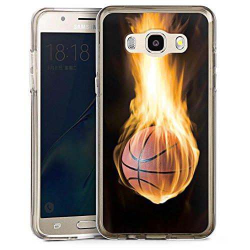 DeinDesign Cover kompatibel mit Samsung Galaxy J5 (2016) Bumper Hülle Bumper Case Schutzhülle Basketball Feuer Flammen