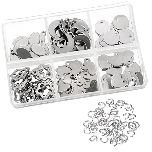 Satinior 120 Pieces Stainless Steel Stamping Blanks Tag Pendants and 100 Pieces Opening Jump Rings for Bracelet Earring Pendant Charms