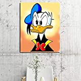 N / A Pintura sin Marco Decoración para el hogar Lienzo Imagen de Dibujos Animados Pato Pared Arte Moderno póster ZGQ6758 50X70cm
