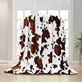 Brown Cow Blanket-WISH TREE. Cow Print Throw Blankets, Lightweight Fleece Blanket with Cow Print for Couch ,Sofa,Bedroom. 40x50 inch, Perfect Cow Gift for Kids, Adults.