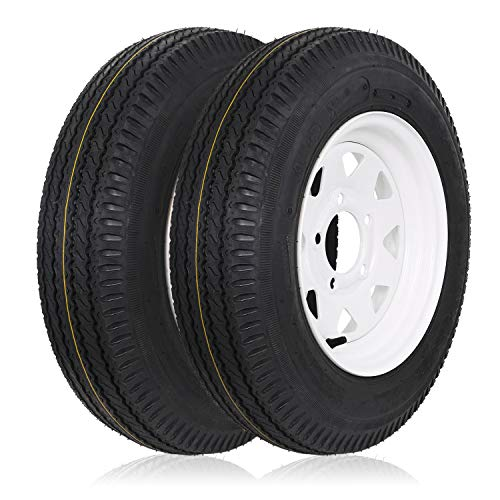 Weize 5.30-12 530-12 5.30x12 Trailer Tires with Rims, 5 Lug, Load Range C, 6 Ply, Set of 2