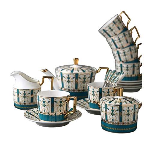 Juego de café de Servicio Europeo de Porcelana de Hueso de 15 Piezas Juego de té Juego de té de la Tarde de cerámica Juego de Servicio Juego
