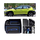 LFOTPP Kona Apoyabrazos Consola Central Bandeja, Caja de Almacenamiento Organizador coche Interior Accesorios (Azul)