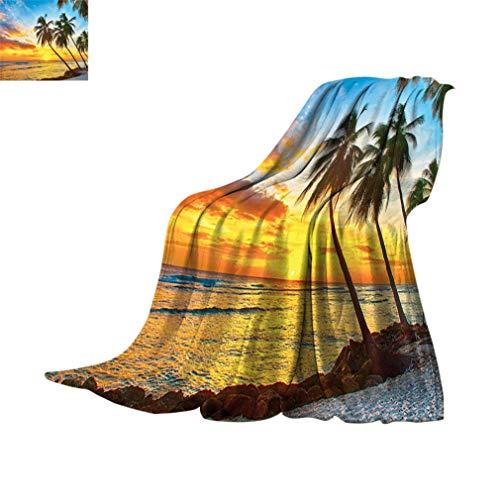 Manta de viaje Ocean Decor con las palmeras en la playa en una isla del Caribe en Barbados Horizon, manta de franela difusa para sofá cama de camping, 152 x 127 cm Multi