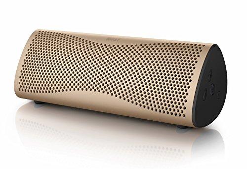 KEF MUO - Bester Bluetooth Lautsprecher -  Gold |  Tragbarer Lautrsprecher für unterwegs  | Außenlautsprecher | Best bluetooth speaker für PC und Laptop | mit langer Batterie und Akkulaufzeit