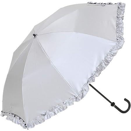日傘 レディース UVカット 晴雨兼用 折傘 折りたたみ 50cm×8本骨 遮熱 遮光 ひんやり傘 UPF50+ UVカット率99%以上 遮光率99%以上 フリル LIEBEN-0515 シルバー/ブラック