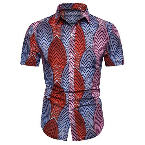 Camisa de Manga Corta Delgada de Moda para Hombres Sección Delgada de Verano Sección de impresión de Estilo étnico Botón de un Solo Pecho Moda Ropa de Calle Top de Moda XL