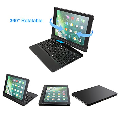 XHutu iPad Wireless Bluetooth Keyboard case.Suitable for iPad 2017/2018/Air/Air 2/Pro 9.7.360