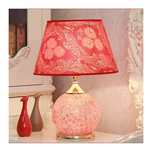 WFL - Lámpara de mesa de estilo moderno para escritorio con luz roja, tejido de vidrio E27 x 1 interruptor remoto para salón, decoración de sofá, dormitorio, hotel, lámpara de mesa de alta calidad