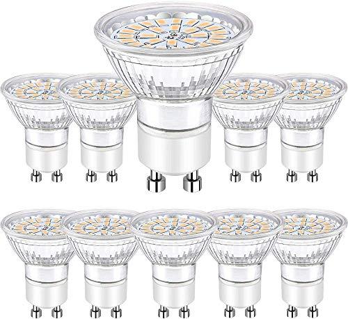 Bombillas LED GU10 5W, LED GU10 Blanco cálido 3000K 450 Lumen equivalente 50W Halógena AC 220-240V, Bombubilla Paquete de 10