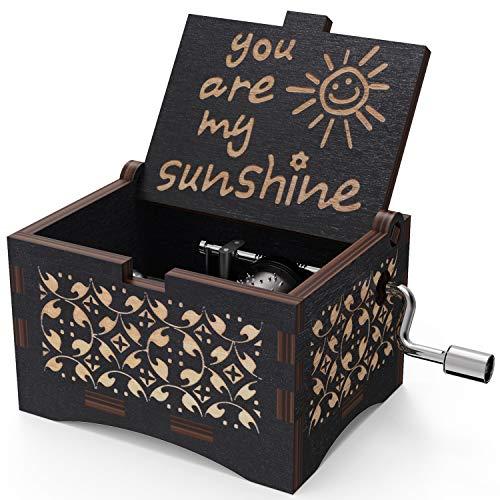 NNDUO You are My Sunshine Holz-Spieluhr, lasergraviert, Vintage-Stil, Sonnenschein, Musikbox, Geschenk für Geburtstag/Weihnachten/Valentinstag (schwarz)