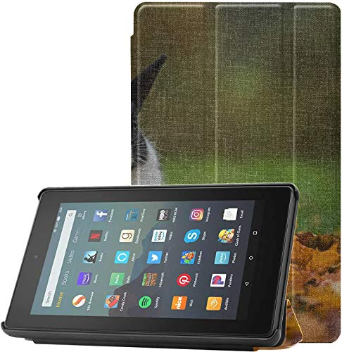 Cover Fire7TabletCaseforBoys Little Funny Rabbit Sitting in Leaves Fire7CaseProtector for Fire 7 Tablet (9th Generation, 2019 Release) Lightweight with Auto Sleep/Wake