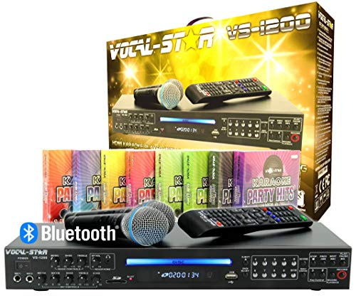 "Vocal-Star VS-1200 CDG DVD HDMI Karaoke Machine""Mega Deal"" con Bluetooth incluyendo 2 micrófonos con cable y 1500 canciones de fiesta"