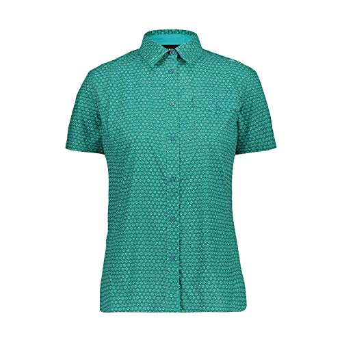 CMP Kurzarm-Hemd mit Blumenmuster, Damen, Lake-Ceramic, D50