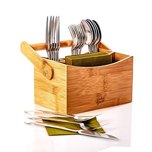 bambuswald© ökologischer Besteckhalter mit Tragehalterung aus 100% Bambus & 6 Fächern | Besteckständer Aufbewahrungsbox Küchenutensilienkorb für Besteck und Gewürze