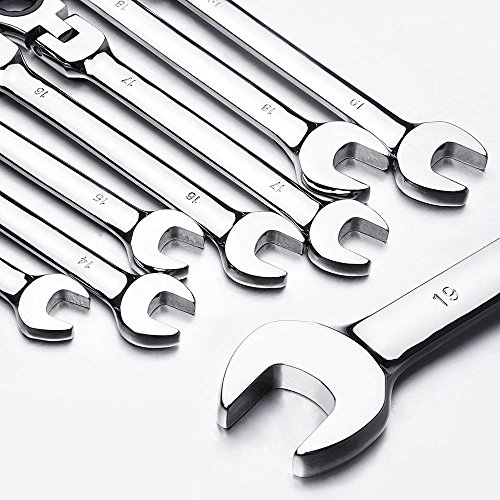 Yescom 12pc 8-19mm Metric Flexible Head Ratcheting Wrench Combination Spanner Tool Set