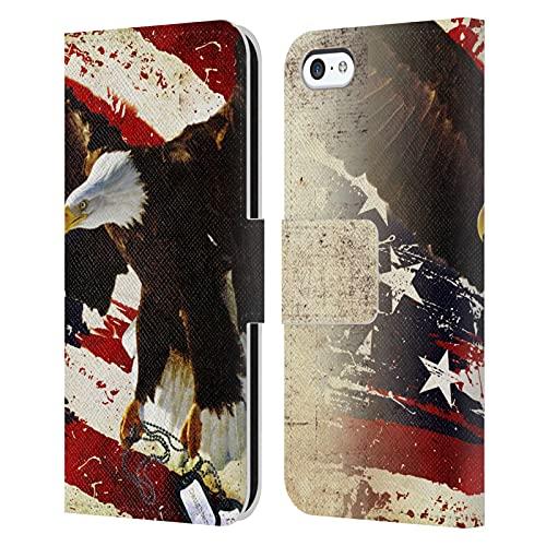 Head Case Designs Licenza Ufficiale Jason Bullard Il Prezzo della libertà America Cover in Pelle a Portafoglio Compatibile con Apple iPhone 5c