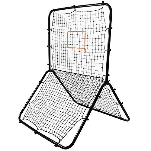 Crown Sporting Goods Multi-Sport Rebounder Pitch Back Screen with Adjustable Target, Black , 65 x 49-Inch
