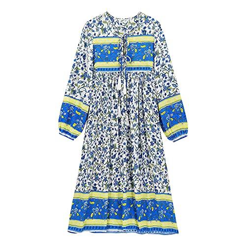 Qigxihkh Damen Sommer Rock Lässig Mode Kleider Bequem Frauen Röcke Damenmode Langarm Blumendruck Retro V-Ausschnitt Quaste Böhmisches Kleid(Hellblau, XL)