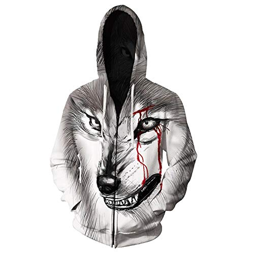 Unisex Creative Anime Watercolor Wolf 3D Animal Print Zip Up Hoodie Pullover Hooded Sweashirt Jacket with Pockets for Men Women Lls - 5300 XXS