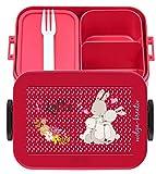 wolga-kreativ Brotdose Lunchbox Bento Box Kinder Hasen Familie mit Namen Rosti Mepal Obsteinsatz für Mädchen Jungen personalisiert Brotbüchse Brotdosen Kindergarten Schule Schultüte füllen