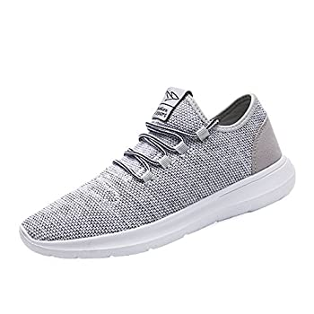 KEEZMZ Men s Running Shoes Fashion Breathable Sneakers Mesh Soft Sole Casual Athletic Lightweight Gray-45