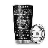 DAMKELLY Store Taza de viaje de acero inoxidable Viking con aislamiento, taza de café con tapa, color blanco, 600 ml