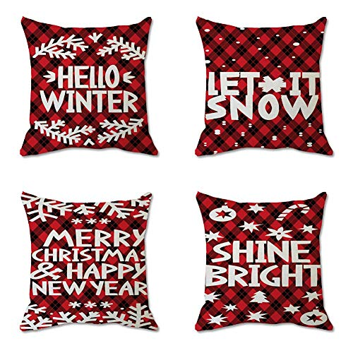 HIGHKAS 4 Pack Christmas Cushion Covers, Red Plaid Letters Snowflake Reindeer Printed Throw Pillow Case Waist Throw Pillow Cover for Home Sofa, Couch, Bed And Car