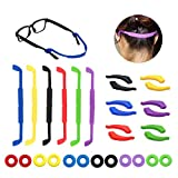 18 Pairs Glasses Straps 6 Pack Anti-Slip Sports Glasses Strap, 6 Pairs Ear Grip Hooks Elastic Glasses Strap and 6 Round Comfort Glasses Retainers Eyeglass Temple Tips for Kids Adult