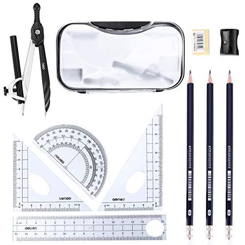 10PCS Maths Set, Geometry Compass Set, School Student Stationery Set...