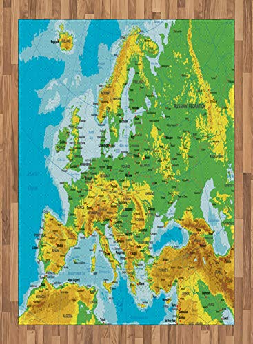 ABAKUHAUS Mapa Alfombra de Área, Alto Detallada Mapa de Europa, Ideal para Sala de Estar o Comedor Resistente a Manchas, 160 x 230 cm, Multicolor