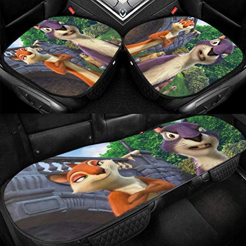 Yellowbiubiubiu The Nut Job Cartoon Car Seat Cover Cushion 3 Pieces - 2 Front Seat Covers Pad & 1 Rear Seats Cover Mat Breathable Waterproof Nonslip Ice Silk Interior