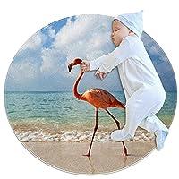 ソフトラウンドエリアラグ 100x100cm/39.4x39.4IN 滑り止めフロアサークルマット吸収性メモリースポンジスタンディングマット,フラミンゴ海のビーチ