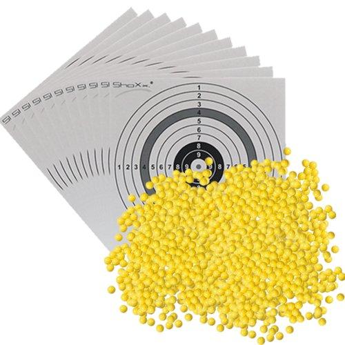 20.000 UMAREX Softair Kugeln Kaliber 6 mm 0,12 Gramm (im Beutel) + 25 ShoXx.® shoot-club Zielscheiben - SET