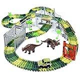 Ohuhu Auto Rennstrecken Spielzeug 230 Stück, Dinosaurier Spielzeug Spielset, mit 2 Stück Dinosaurier, Flexible Bahnen, Militärfahrzeug, Bäumen, für Kinder Jahre und älter Alte Jungen Mädchen