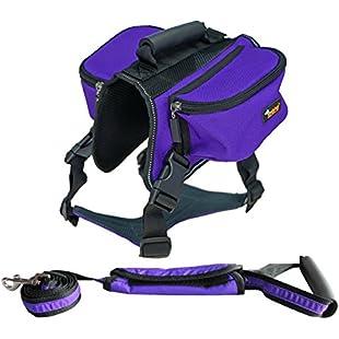 Ondoing Dog Backpack Adjustable Dog Saddlebag Reflective Dog Harness Leash Set for Medium and Large Dogs Outdoor Traveling Hiking Camping Training (L-neck 60-80cm, chest 88-100cm, Purple)