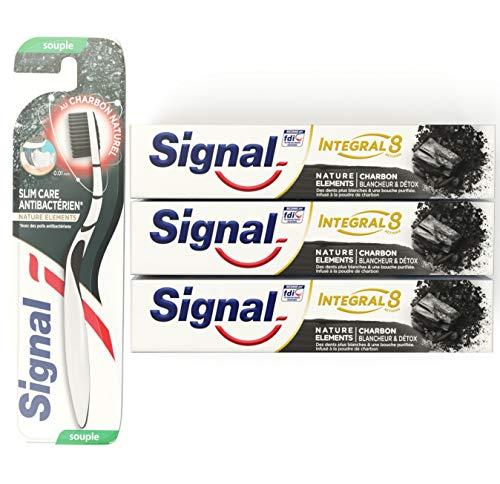 Signal Kit Régime Dentaire 3 Dentifrices Blancheur et Detox au Charbon et Brosse à Dents Manuelle Souple avec Poils Infusés au Charbon (Lot de 3 Dentifrices et 1 Brosse à Dents)