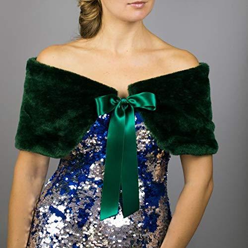 Chal estola piel sintetica verde alta calidad bolero para vestido de noche Talla S-M