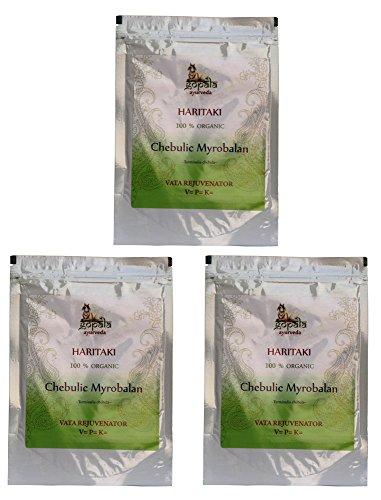 Bio HARITAKI Pulver (250g - 3er pack) Terminalia chebula - 100% Bio-zertifiziertes pflanzliches Nahrungsergänzungsmittel der Lacon GmbH