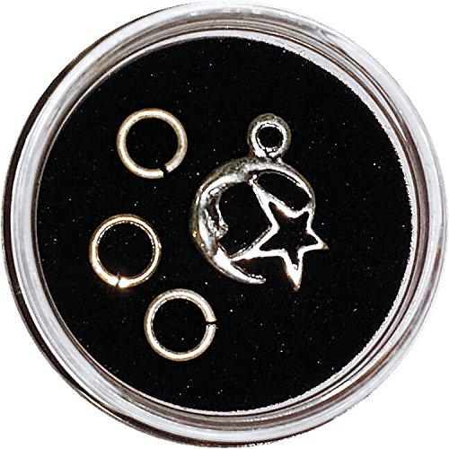 Zilverkleurige piercing: MOND + STERN met 2 reserveringen, in schroefdoppen
