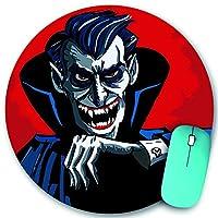 KAPANOU ラウンドマウスパッド カスタムマウスパッド、漫画のvheadと邪悪な吸血鬼の肩、PC ノートパソコン オフィス用 円形 デスクマット 、ズされたゲーミングマウスパッド 滑り止め 耐久性が 200mmx200mm