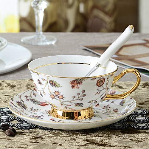IRCATH keramiek - Engelse bone China koffiemok en schotel middag bloem thee mok ondertas goud goud bloemen pauze mok en schoteltje