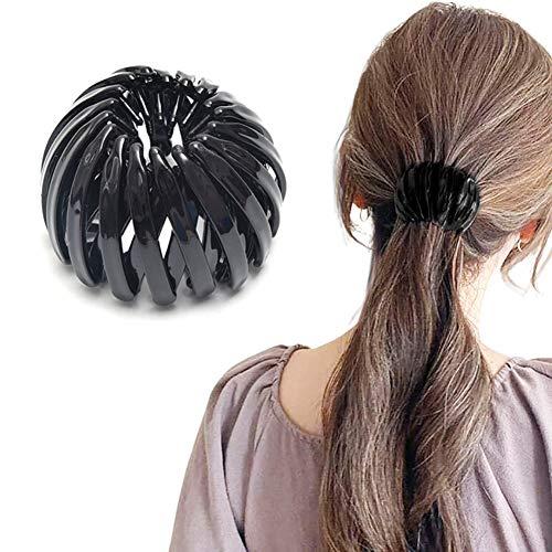 Pince à cheveux pour queue de cheval - 2021 - Style rétro - Imprimé léopard - Boule en épingle à cheveux tendance - Épingle à cheveux extensible - Accessoires pour cheveux féminins (noir)