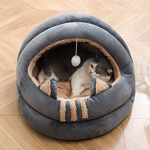 LOWW Katzenhöhle Katzenbett 2 in 1,Katzenhaus Für Draußen Winterfest Katzenzelt Katzenkorb zum Schlafen für Kleine bis Mittlere Größe Katzen (Grau L)