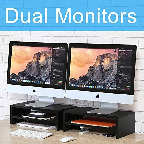 FITUEYES 2 Capas Elevador del Monitor de Madera Color Negro Soporte para Monitor 2 Soportes L42.5xW23.5xH14cm DT204202WB