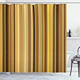 Lunarable Yellow and Brown Shower Curtain, Abstract Earthen Toned Vertical Lines Band with Blurry Effect, Cloth Fabric Bathroom Decor Set with Hooks, 70' Long, Coffee Green