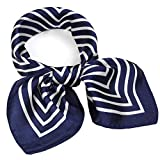 Silk Like Scarf Square Handkerchief Satin Ribbon Stripe Neck Scarfs for Women Navy 21' x 21'