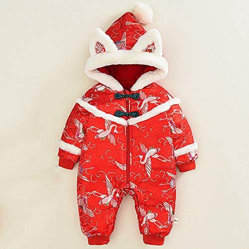 Babyoverall Im Chinesischen Stil, Roter Kranich, Baumwollmantel FüR Herbst Und Winter, Plus Samtverdickung,66cm
